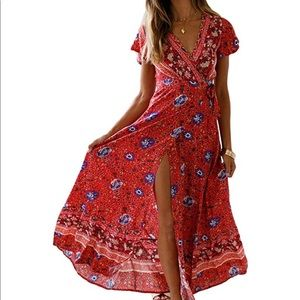 Dresses & Skirts - Vintage style Wrap maxi dress.